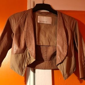 YIGAL AZROUEL CROP BUTTERSOFT LEATHER JACKET